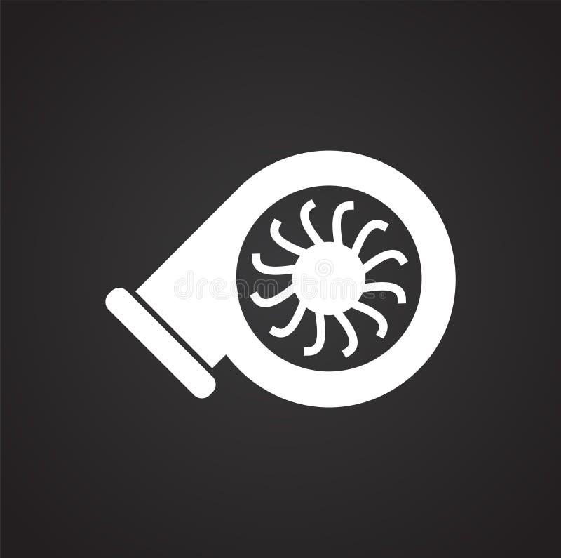 在黑背景的汽车助推器超级充电器图表和网络设计的,现代简单的传染媒介标志 背景蓝色颜色概念互联网 时髦 库存例证