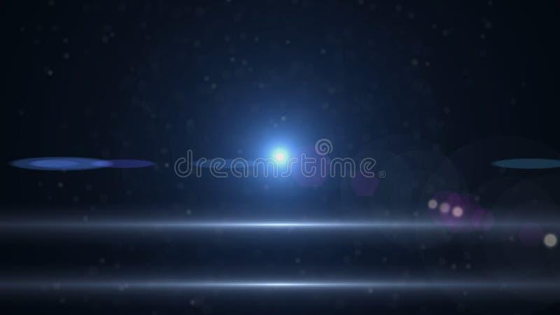 在黑背景的演播室射击的真正的透镜火光 容易增加作为覆盖物或网式滤油器在照片 免版税库存照片