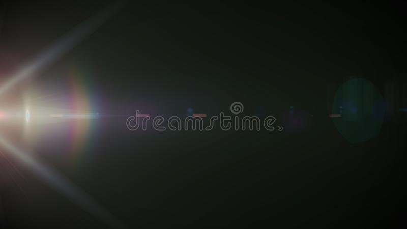 在黑背景的演播室射击的真正的透镜火光 容易增加作为覆盖物或网式滤油器照片 库存照片