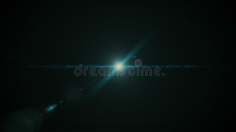 在黑背景的演播室射击的真正的透镜火光 容易增加作为覆盖物或网式滤油器照片 库存图片