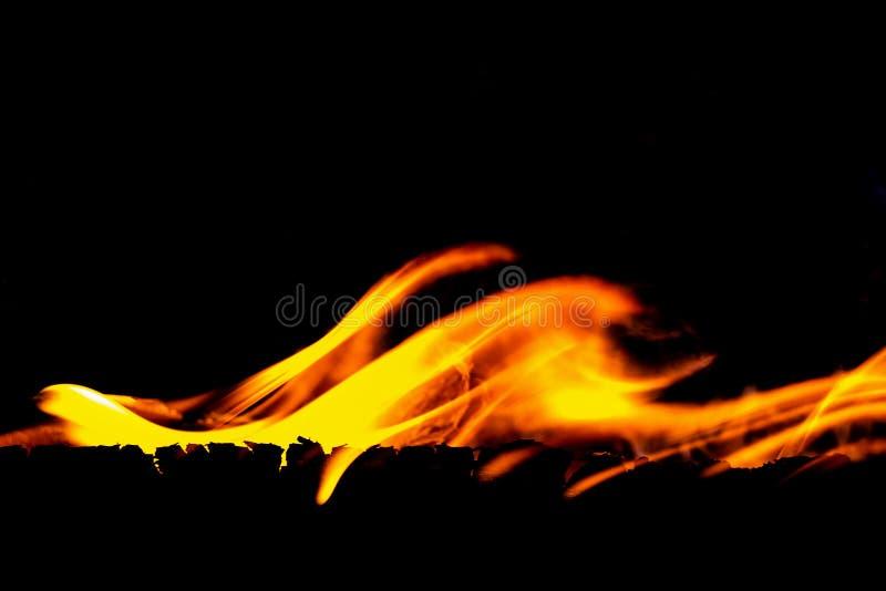 在黑背景的火flams 免版税库存照片