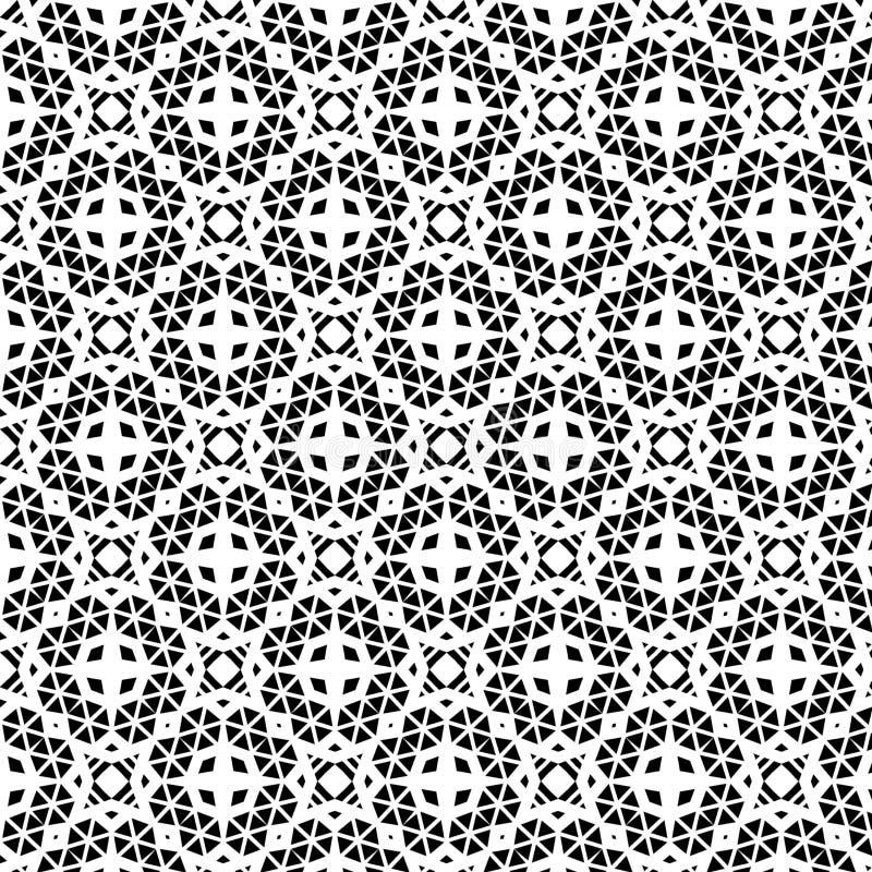 在黑背景的白色复杂重复的几何样式 向量例证