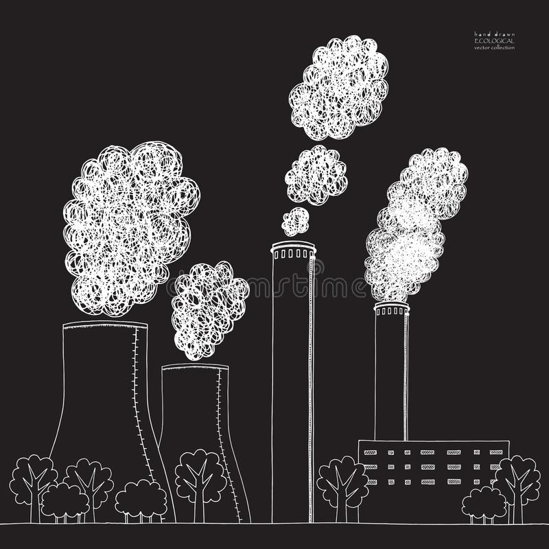 在黑背景的白色烟窗 从工厂的发烟造成的大气污染的例证和植物用管道输送,管 皇族释放例证