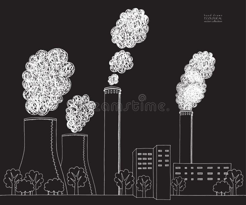 在黑背景的白色烟窗 从工厂的发烟造成的大气污染的例证和植物用管道输送,管 向量例证