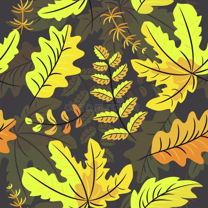 在黑背景的秋叶无缝的样式 库存例证