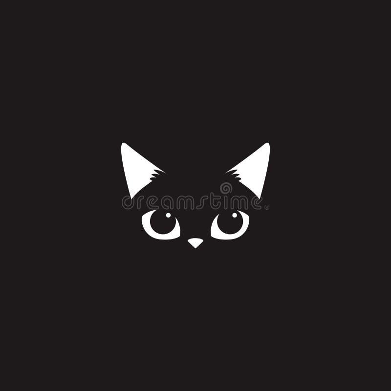 在黑背景的简单的白色猫面孔 库存例证