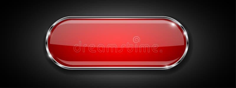 在黑背景的红色玻璃按钮 与金属框架的发光的3d象 向量例证