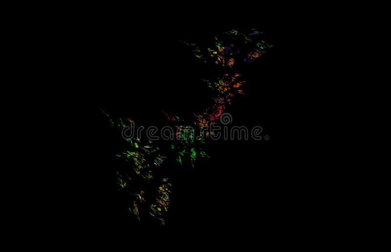 在黑背景的红色黄绿色分数维 幻想分数维纹理 abstact艺术深深数字式红色转动 3d翻译 计算机生成的图象 皇族释放例证