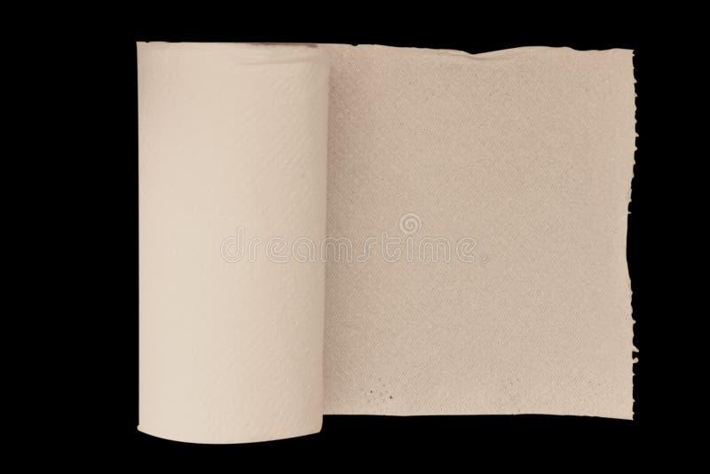 在黑背景的纸组织孤立 裁减路线 库存照片