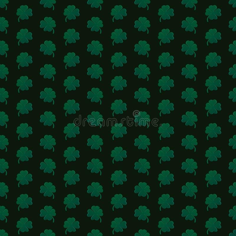 在黑背景的绿色条纹三叶草 模式无缝的向量 向量例证