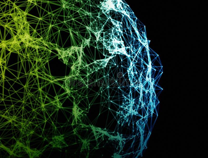 在黑背景的网络连接地球 向量例证