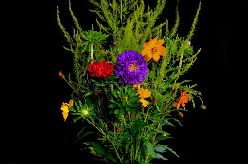 在黑背景的花束 图库摄影