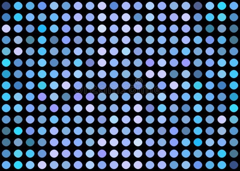在黑背景的蓝色光点马赛克 库存例证