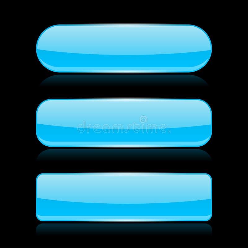 在黑背景的蓝色玻璃按钮 向量例证