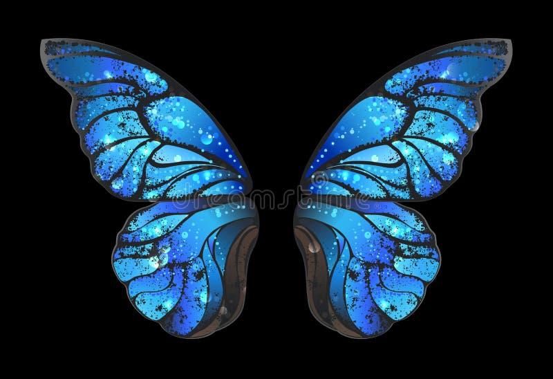 在黑背景的蓝色蝴蝶翼 向量例证