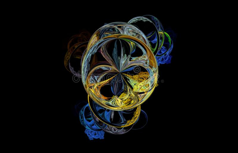 在黑背景的蓝色黄绿色分数维 幻想分数维纹理 abstact艺术深深数字式红色转动 3d翻译 计算机生成的图象 向量例证