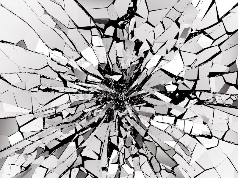 在黑背景的被打碎的或被拆毁的玻璃 向量例证