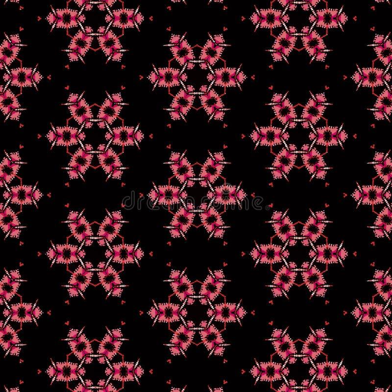 在黑背景的逗人喜爱的桃红色花在一个重复的样式 向量例证