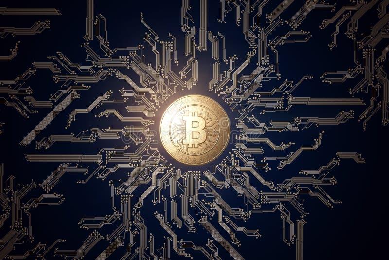 在黑背景的金币Bitcoin 隐藏货币的概念 Blockchain技术 库存照片