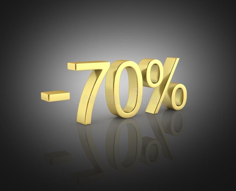 在黑背景的金文本70%没有阴影3D回报 皇族释放例证