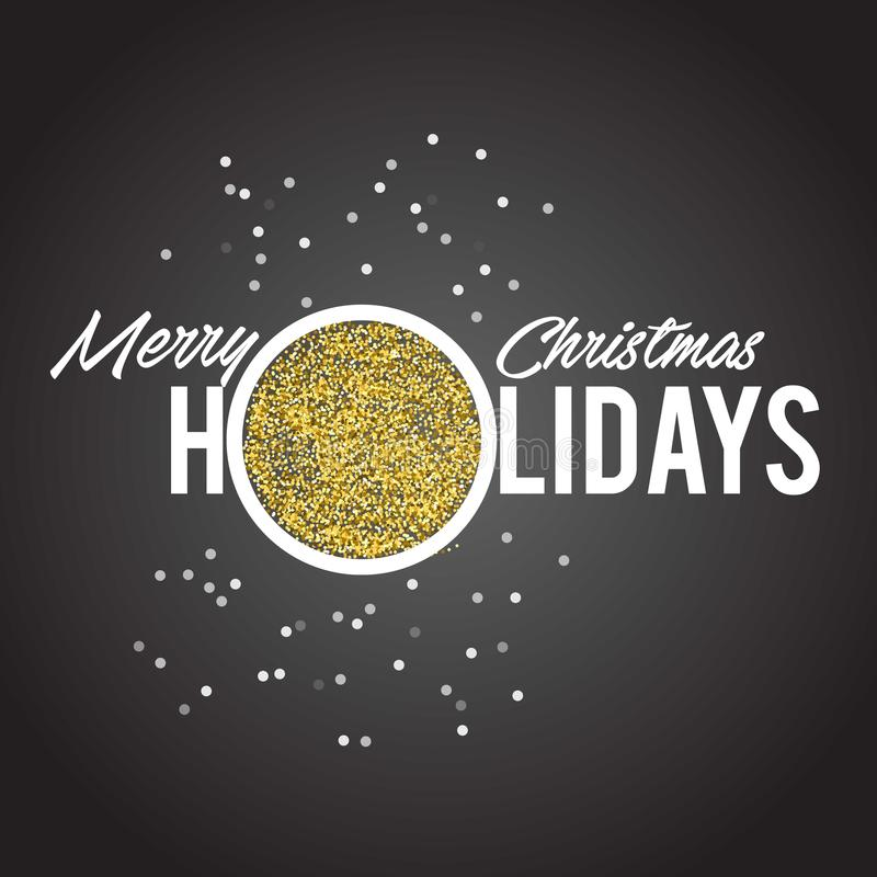 在黑背景的金黄文本 邀请和贺卡、印刷品和海报的圣诞快乐和新年快乐字法 皇族释放例证