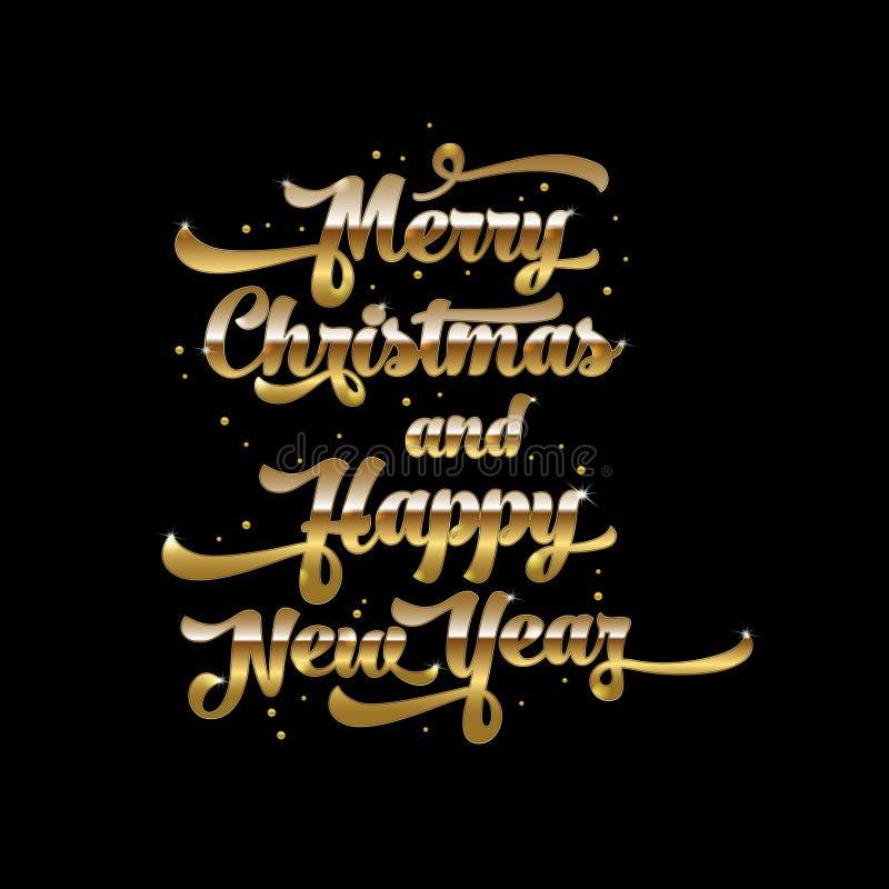 在黑背景的金黄文本 邀请和贺卡的,印刷品圣诞快乐和新年快乐字法 皇族释放例证