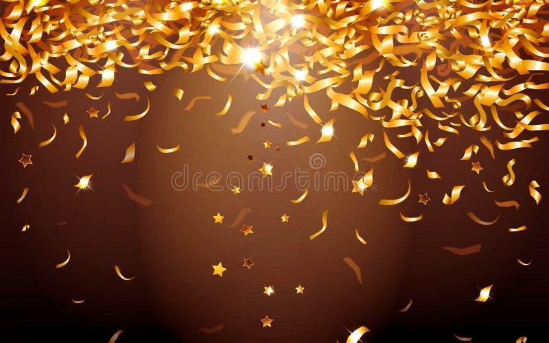 在黑背景的金黄星 向量例证