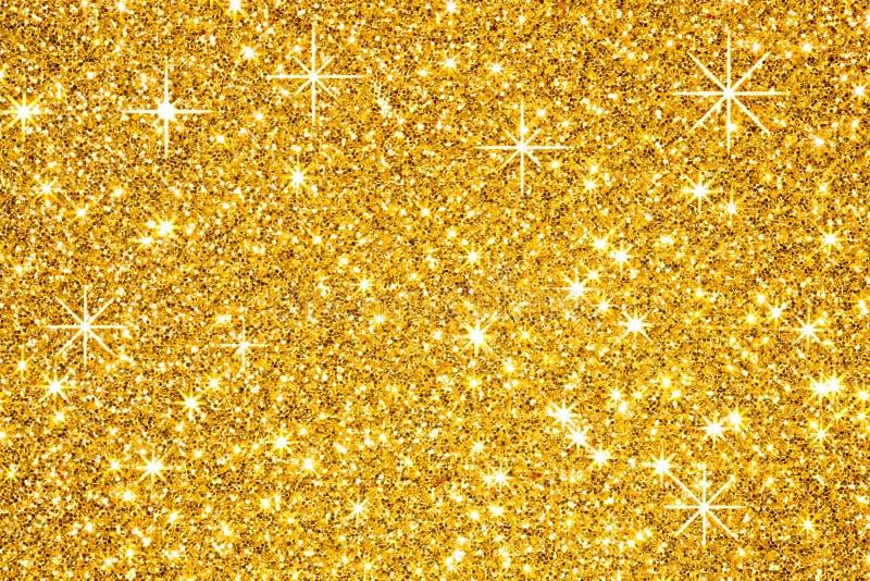 在黑背景的金黄星 库存例证