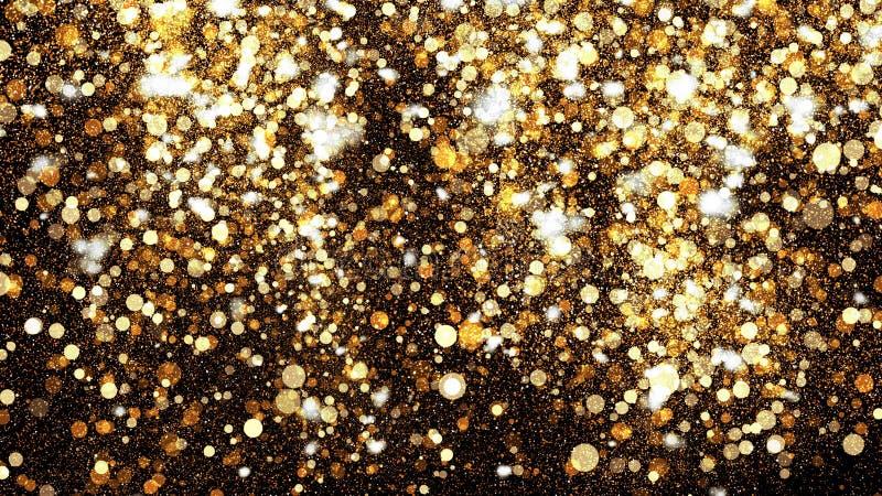 在黑背景的金黄闪烁尘土 与金粉末的闪耀的飞溅例证 Bokeh发光的不可思议的薄雾作用 库存图片