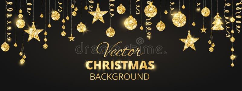 在黑背景的闪耀的圣诞节闪烁装饰品 金黄节日边界 有垂悬的球的欢乐诗歌选和 库存例证