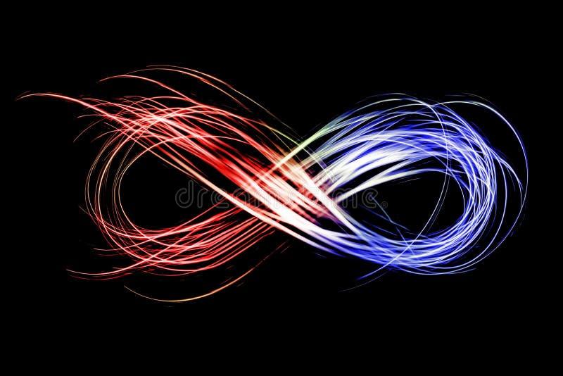 在黑背景的霓虹结冰光创造的无限标志 向量例证