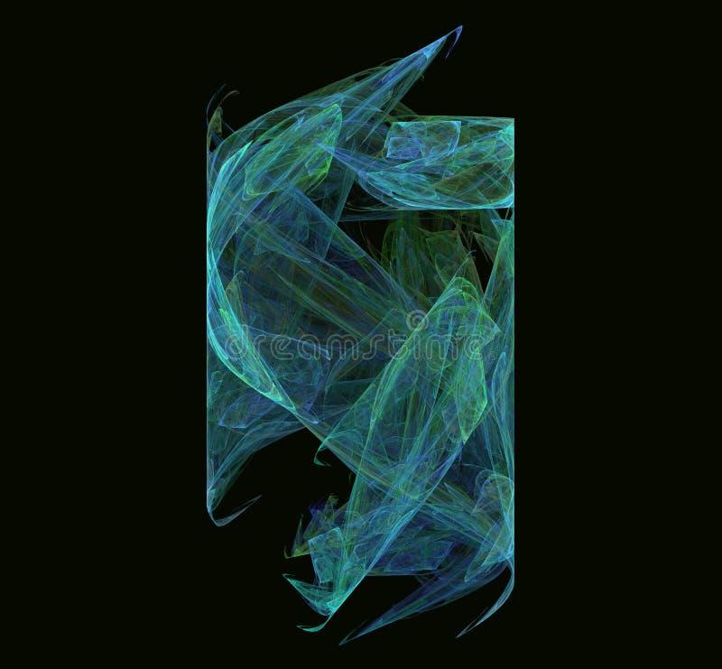 在黑背景的青绿的抽象分数维纹理 幻想分数维纹理 abstact艺术深深数字式红色转动 3d翻译 计算机生成im 库存例证