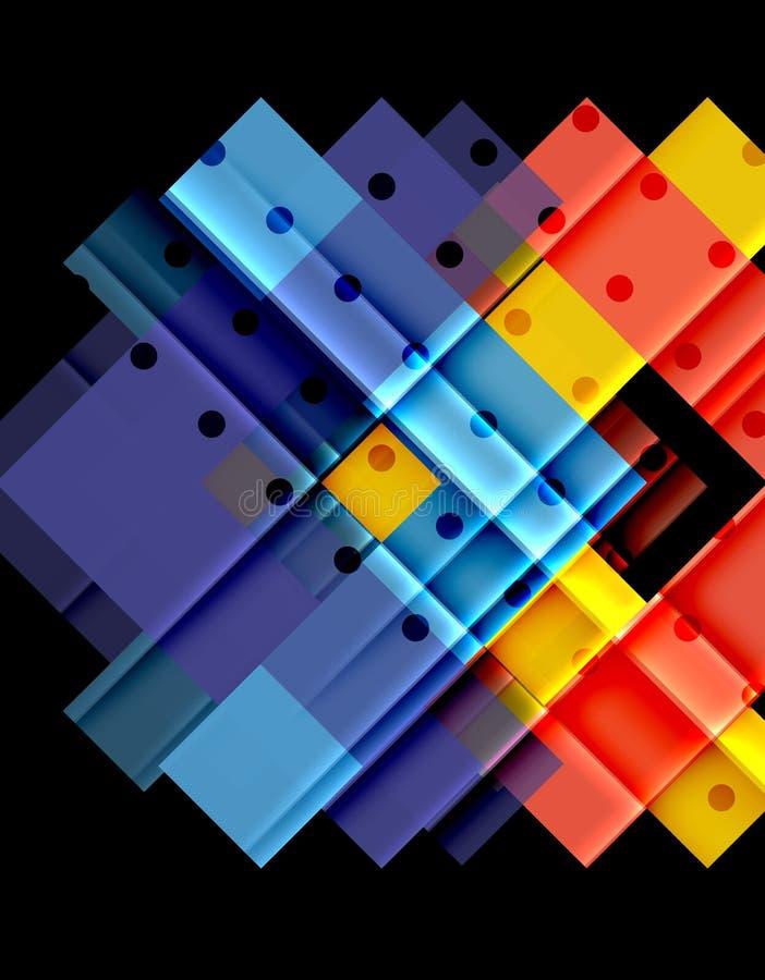 在黑背景的颜色箭头 向量例证
