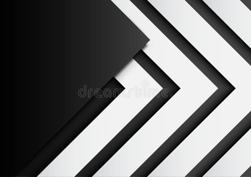 03 在黑背景的黑白箭头与纸艺术猪圈 皇族释放例证
