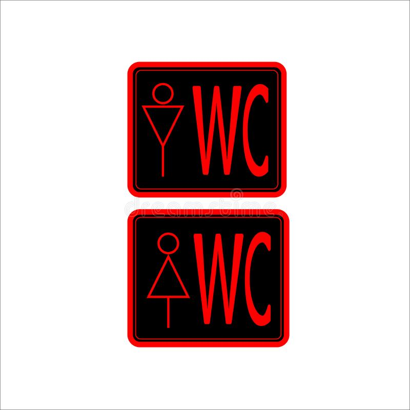 在黑背景的WCtoilet象红色稀薄的线 向量例证
