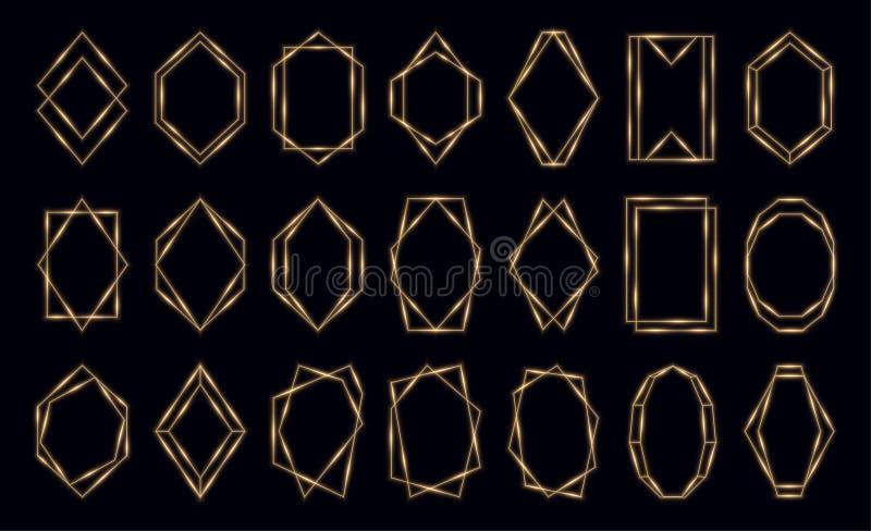 在黑背景隔绝的发光的金黄多角形框架集合 库存例证