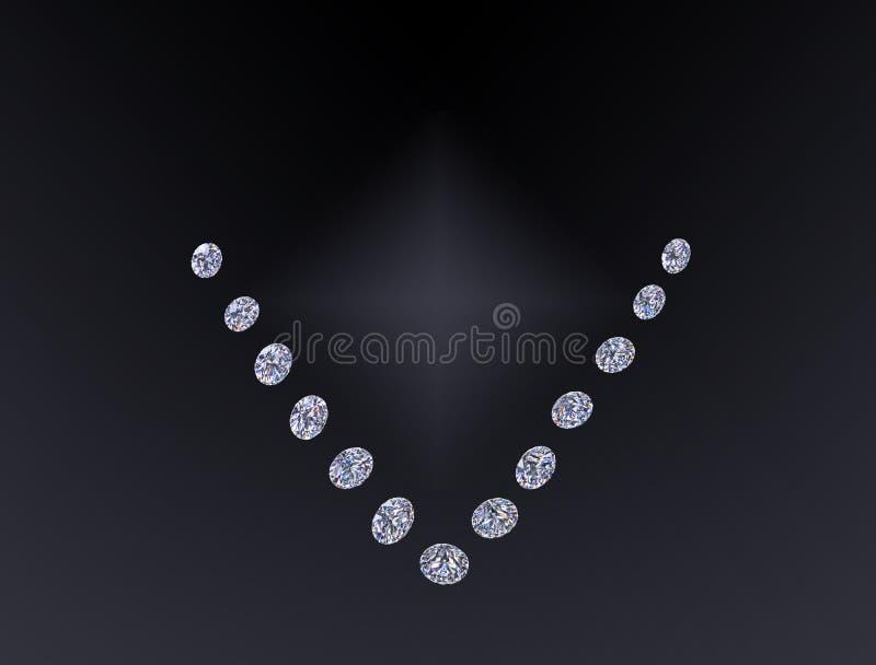 在黑背景隔绝的套豪华无色的透明闪耀的宝石圆的裁减形状金刚石拼贴画 免版税图库摄影