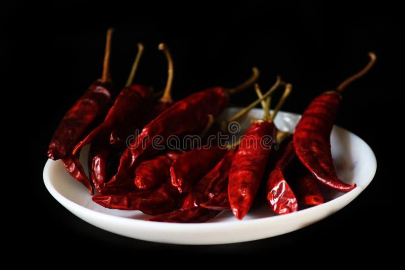 在黑背景隔绝的干红色辣椒或辣椒辣椒 库存图片