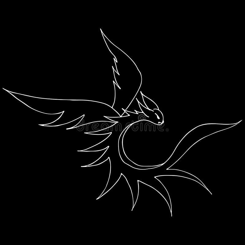 在黑背景隔绝的手拉的传染媒介龙例证 意想不到的龙象 徒手画的神话aminal ?? 皇族释放例证