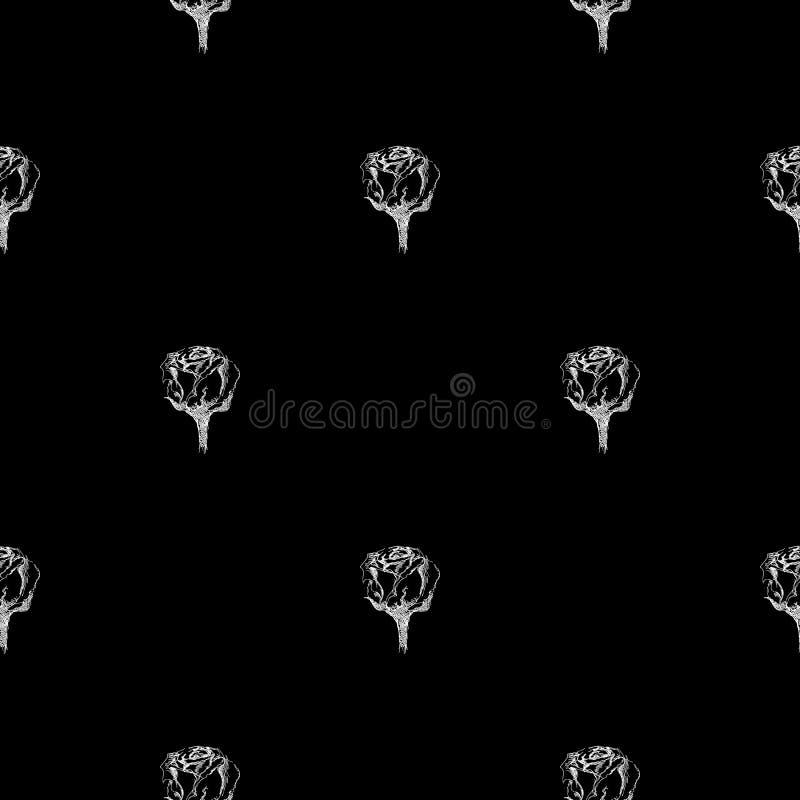 在黑背景隔绝的抽象玫瑰色花的无缝的手拉的样式 传染媒介花卉例证 现代逗人喜爱的乱画 库存例证