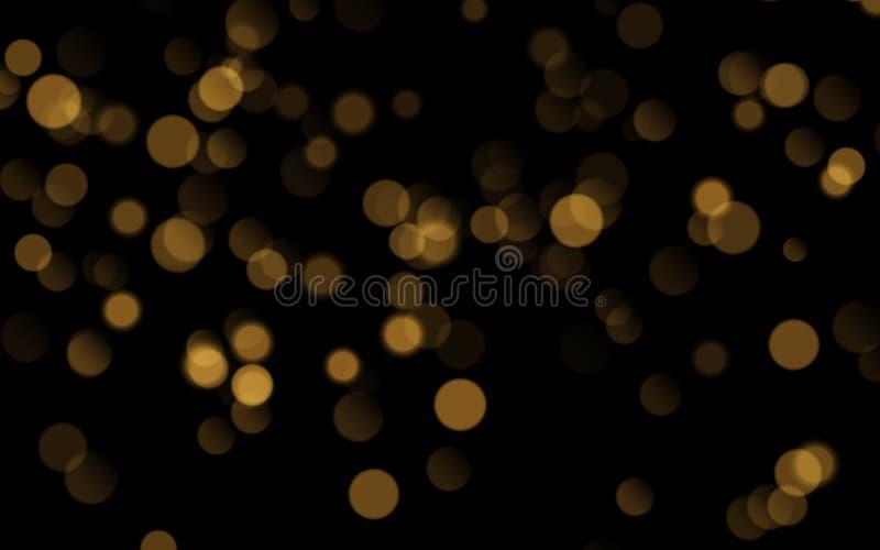 在黑背景隔绝的抽象金黄光亮的bokeh 装饰或圣诞节背景 皇族释放例证