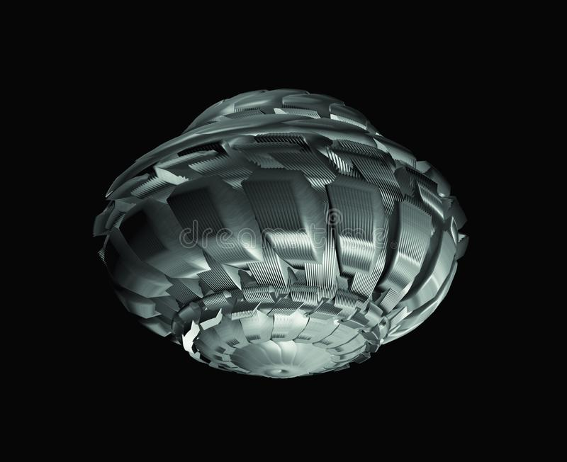 在黑背景隔绝的未来派太空飞船 向量例证