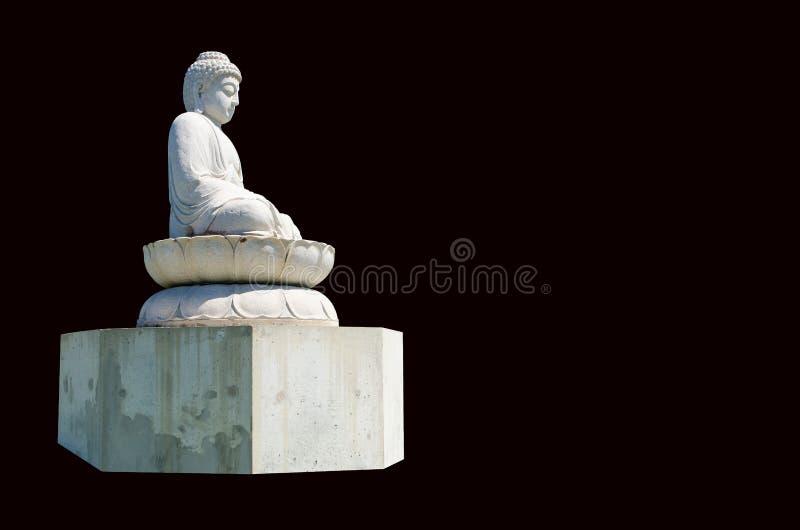 在黑背景隔绝的白色灰色石菩萨雕象 免版税库存照片