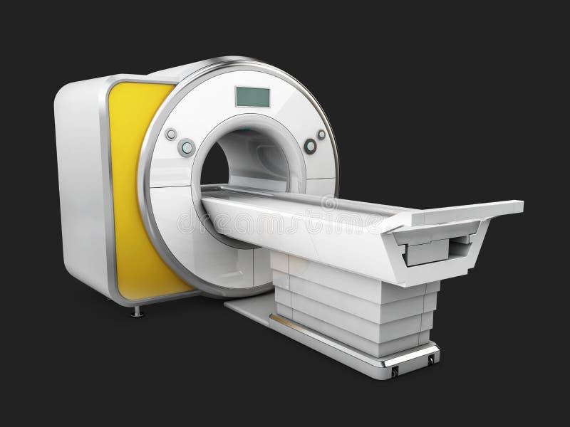 在黑背景隔绝的磁反应想象机器 医疗MRI扫描器, 3D例证 皇族释放例证