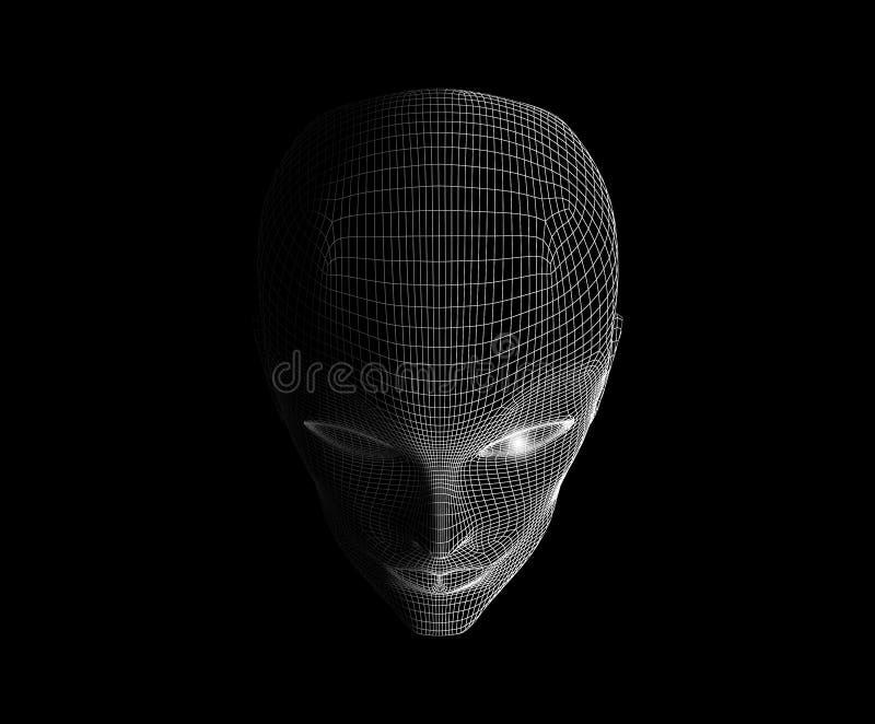 在黑背景隔绝的肉眼和面孔在技术 向量例证