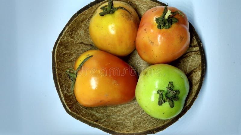 在黑背景隔绝的蕃茄 免版税库存照片