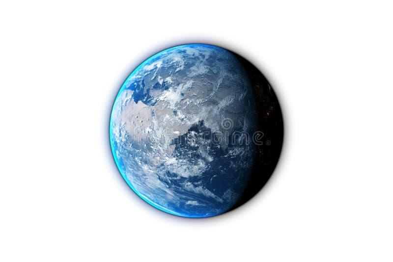 在黑背景隔绝的行星地球,3d回报 r 皇族释放例证
