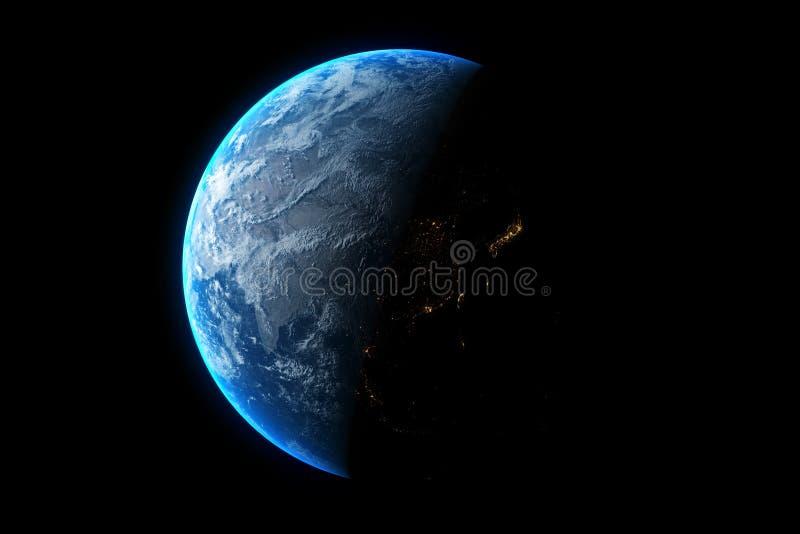 在黑背景隔绝的行星地球,3d回报 r 向量例证