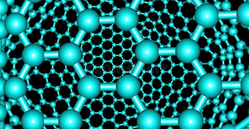 在黑背景隔绝的象Graphene的分子结构 向量例证