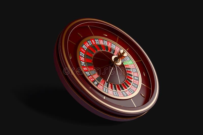 在黑背景隔绝的豪华赌博娱乐场轮盘赌的赌轮 3D现实传染媒介例证 网上赌博娱乐场轮盘赌 库存例证